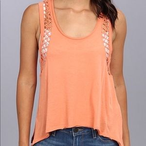 Free People Knot Me Raw Tie Trim Orange Tank Top